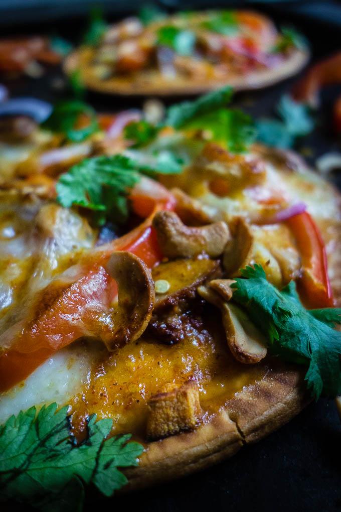 close up of flatbread pizzas