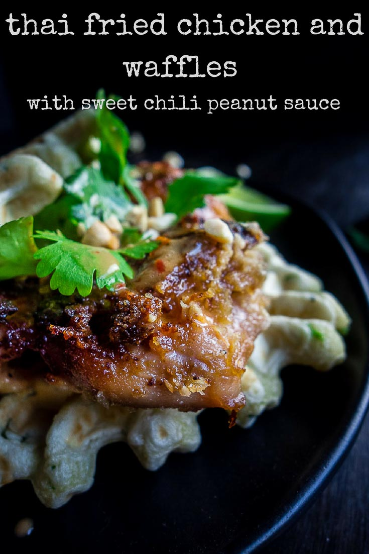This Crispy Thai Fried Chicken and Waffles is packed full of flavor and served with a Sweet and Spicy Thai Chili Peanut sauce for a perfect brunch!thai chicken | best brunch recipes | spicy fried chicken | thai peanut sauce | thai sweet chili sauce | savory waffles | breakfast recipes | crispy thai chicken | satay peanut sauce | asian chicken and waffles