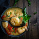 Creamy Coconut Thai Green Curry Shrimp and Grits