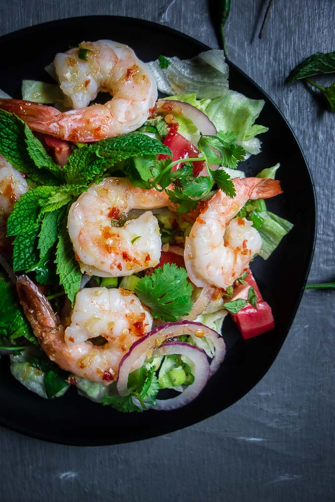 pla goong (thai shrimp salad) and herbs and chilies