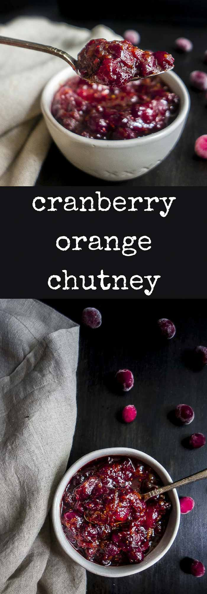 This 20 Minute Cranberry Orange Chutney recipe has the perfect combination of sweet, tart and savory flavors for a delicious condiment! #thanksgivingrecipes #cranberries, #frozencranberries, #cranberriesforallseasons orange cranberry sauce | orange cranberry chutney | cranberry ginger chutney | cranberry relish | cranberry jam | cranberry sauce | cranberry chutney | holiday recipes | thanksgiving recipes