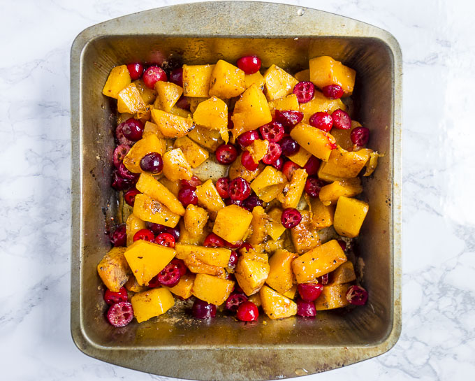 pan of roasted cranberry butternut squash