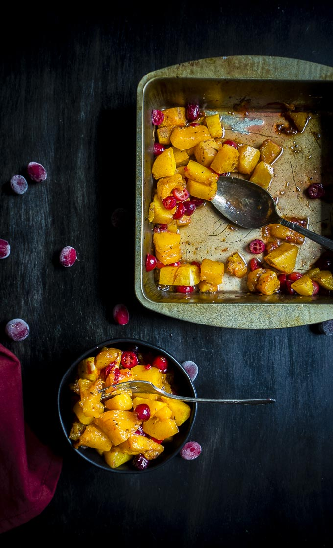 a pan of cranberry roasted butternut squash
