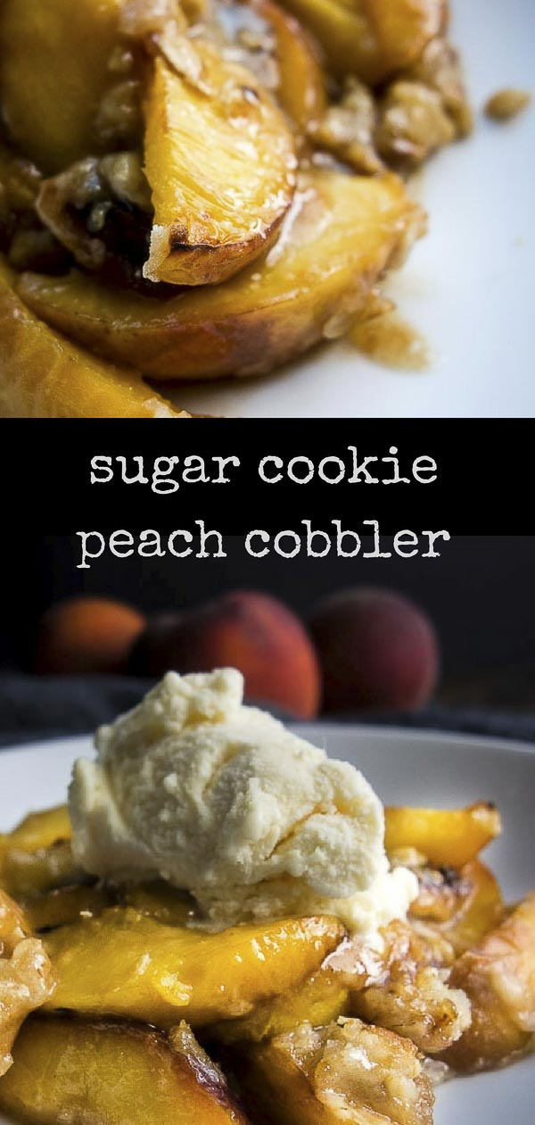 This Brown Sugar Cookie Peach cobbler is made with fresh peaches, a healthy amount of butter, brown sugar, rolled oats for some texture, and store bought sugar cookie dough. You NEED this sweet, ultra saucy & caramelized peach cobbler in your lifecookie crusted peach cobbler | brown butter sugar cookie peach cobbler | fresh peach cobbler | easy peach cobbler | peach crumble | peach crisp | oatmeal cookie peach cobbler | the best peach cobbler | southern peach cobbler