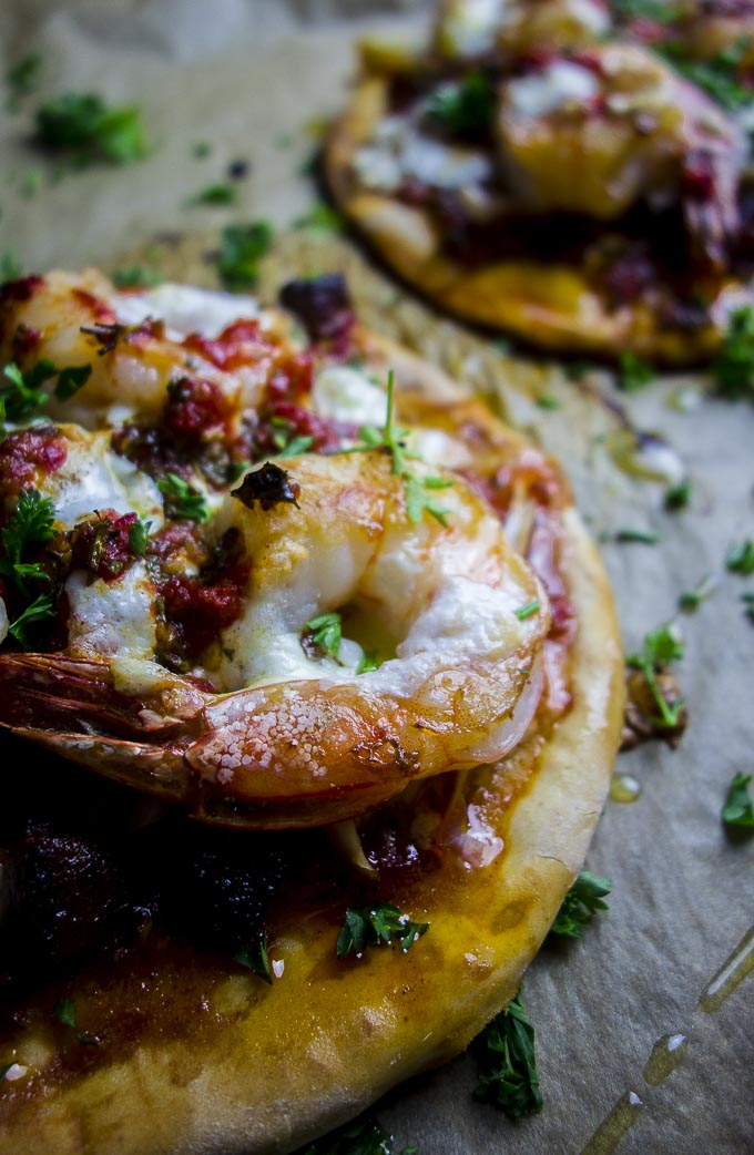 close up of brazilian shrimp pizza