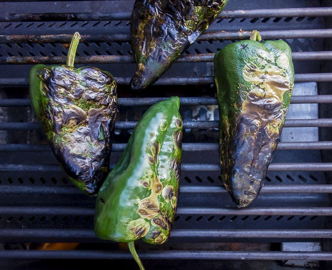 poblano peppers roasted on grill