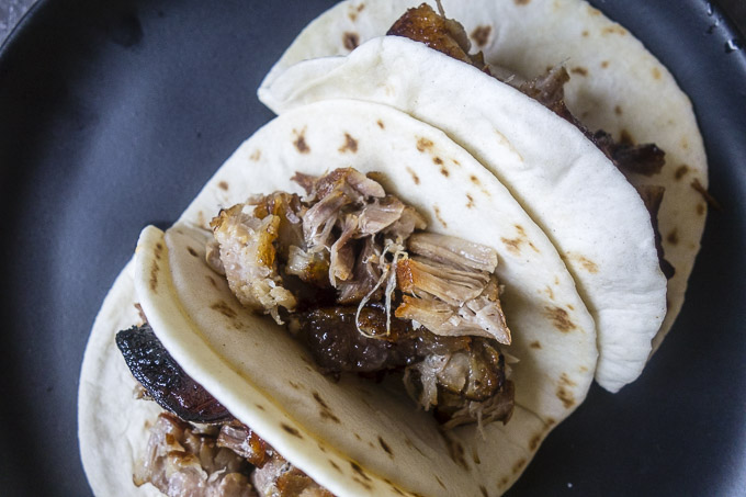 roasted pork belly in a tortilla