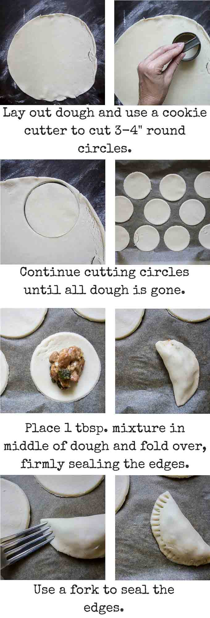 step by step instructions for making bean and cheese empanadas