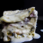 piece of bechamel lasagna side view