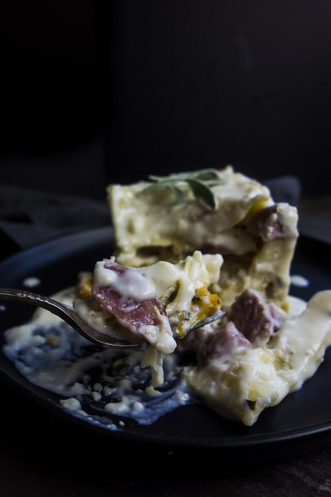 fork full bechamel lasagna