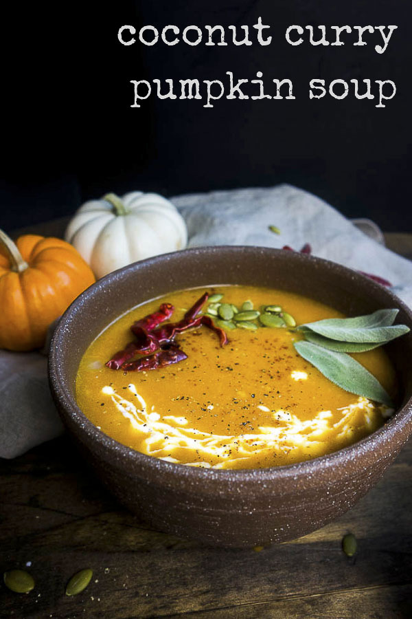 A twist on the good old pumpkin soup recipe, this Coconut Curry Pumpkin Soup is bursting with amazing flavors & can be on the table in less than 15 minutes. This homemade pumpkin soup with Thai red curry paste is the ultimate Fall comfort food you totally need in your life! This spicy pumpkin soup recipe has the perfect amount of heat balanced by the creaminess of the coconut milk and sweetness of the homemade pumpkin puree. This creamy pumpkin soup is a fall classic!