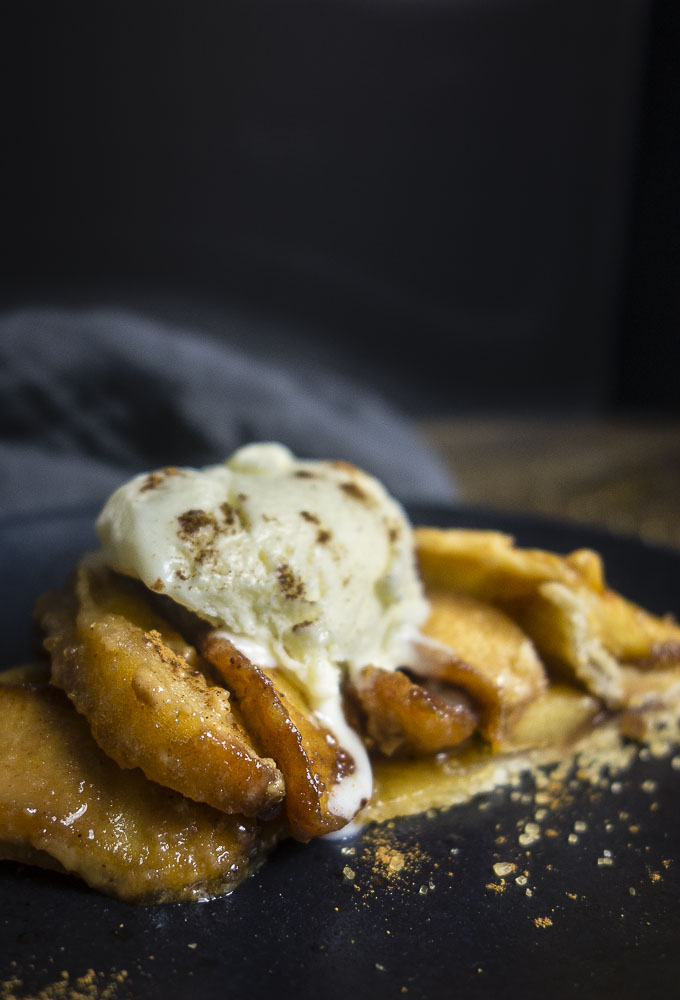 piece of salted caramel apple galette with ice cream