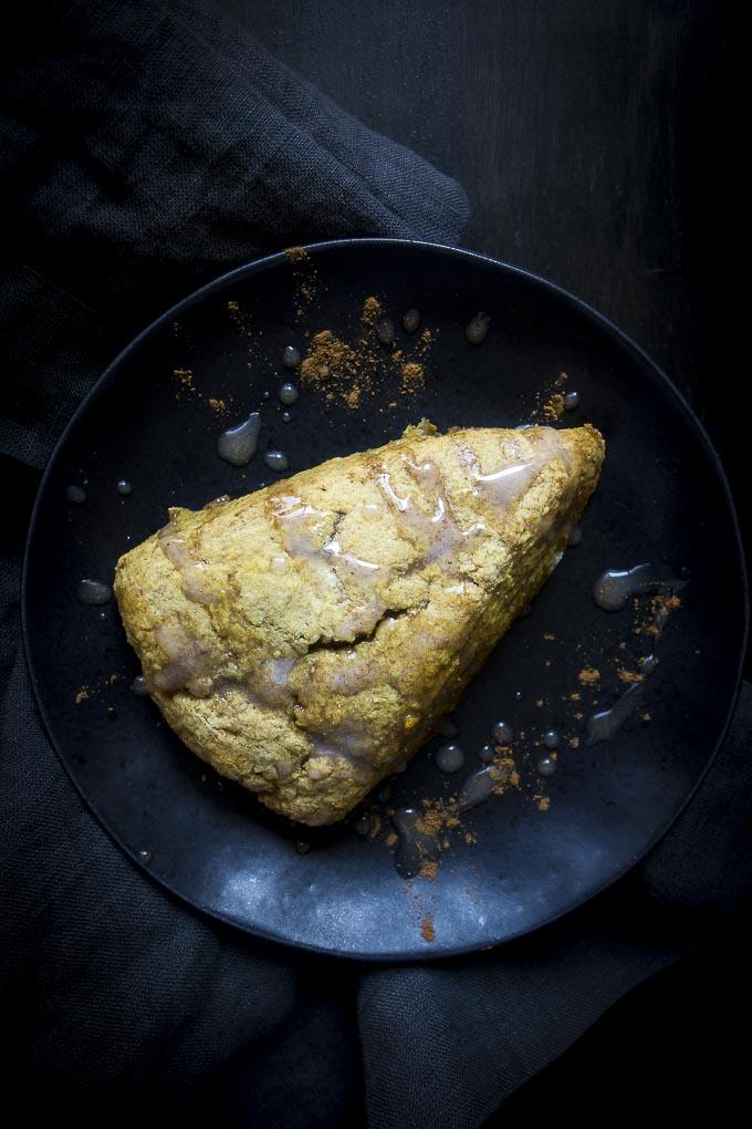 pumpkin scones recipe on plate with glaze