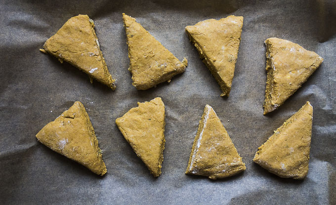 pumpkin ginger scones cut into triangles
