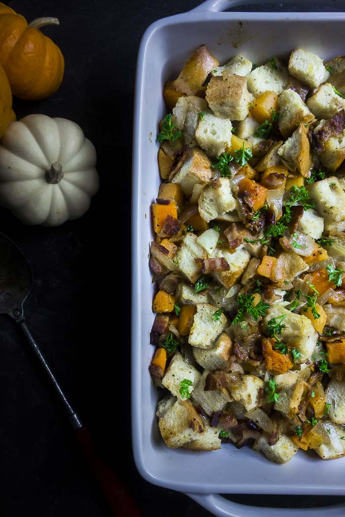 baked bacon stuffing with pieces of butternut squash