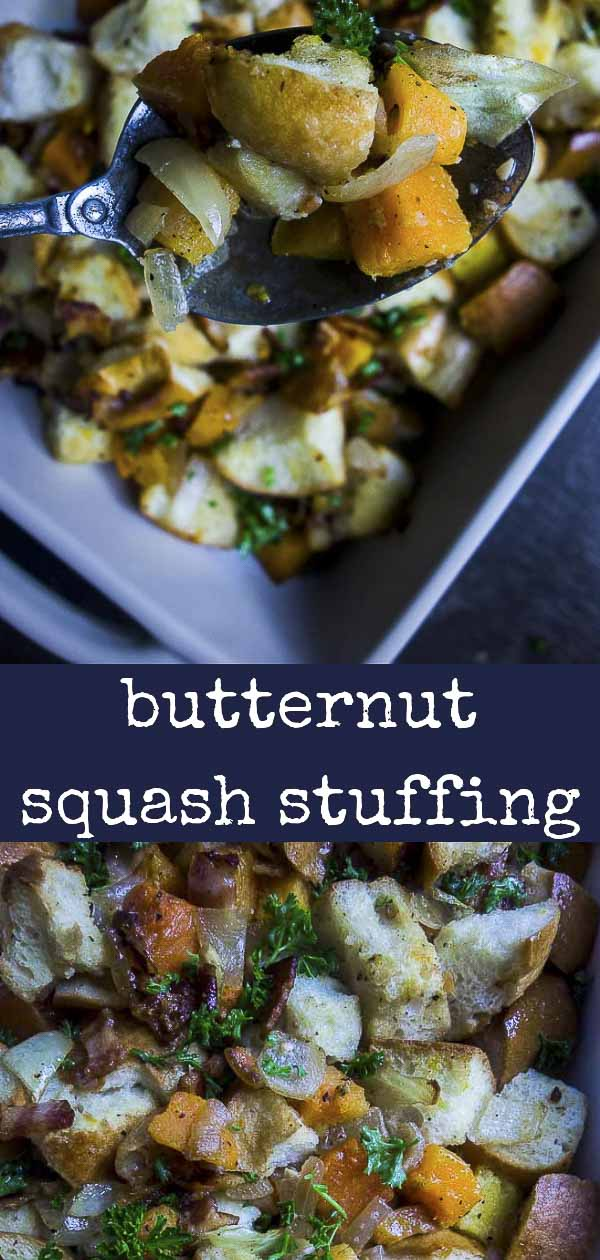 Crispy bacon, toasted, buttery bread, and tender butternut squash make this Butternut Squash Stuffing with Bacon a total MUST MAKE for your holiday dinner. A super easy homemade stuffing recipe, this bacon stuffing has less than 10 ingredients and takes only minutes to throw together. Plus this easy stuffing is perfect to make ahead! #thanksgivingstuffing #baconlove #thanksgivingrecipes #stuffing #butternutsquash #holidayrecipes #homemadestuffing #easysidedish
