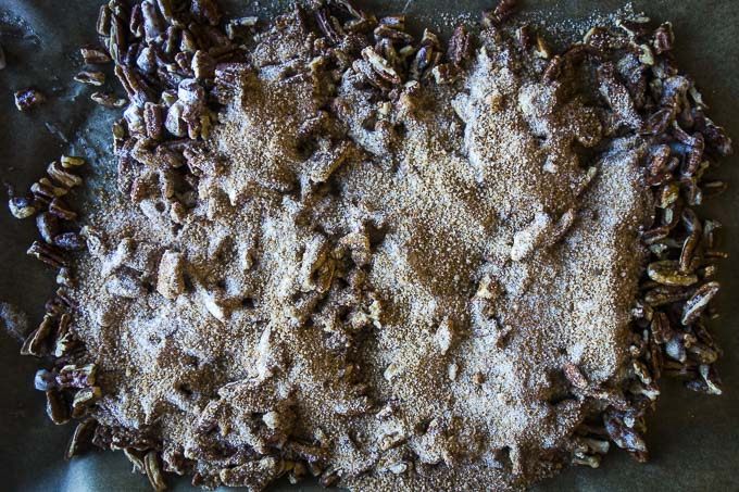 pecans covered in sugar coating for candied pecans