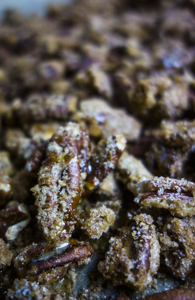 up close photo of glazed pecans