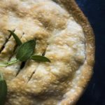 top down view of baked easy leftover turkey pot pie with sage