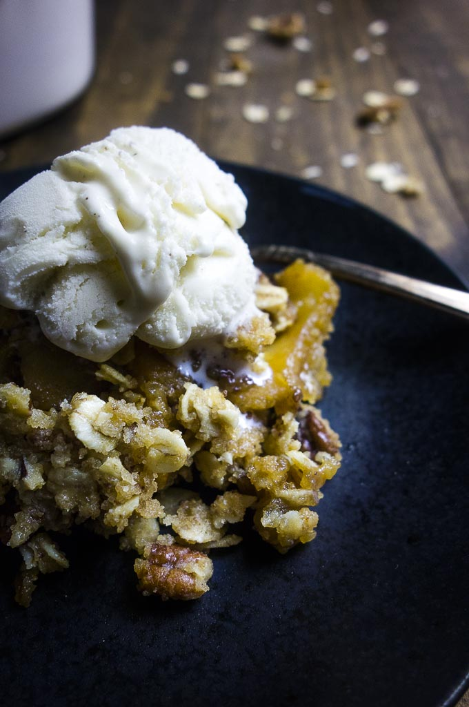 up close photo of homemade apple crisp topped with ice cream - food photography