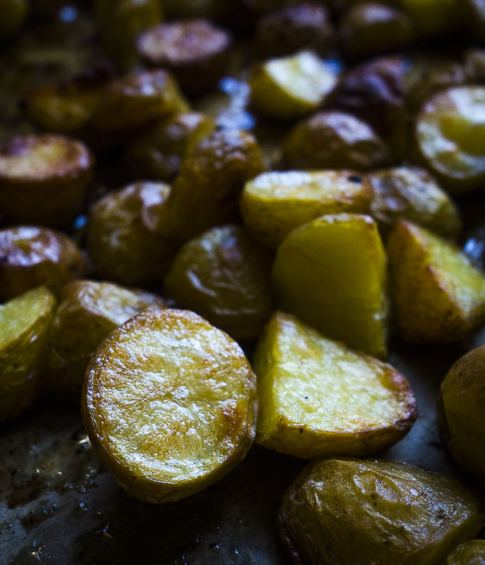 close up of crispy roasted potatoes