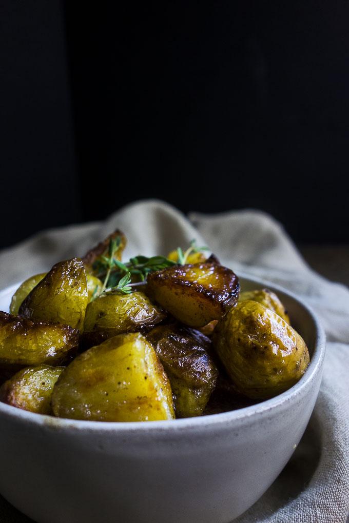 bowl of perfect crispy roasted potatoes