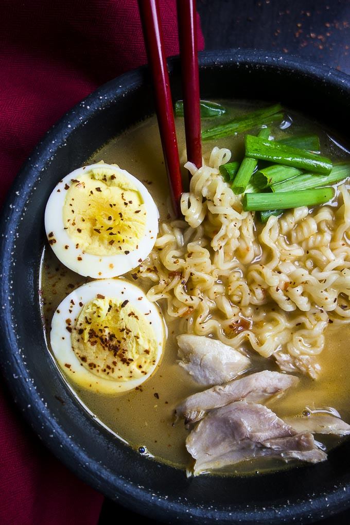 close up photo of instant pot ramen with hard boiled eggs