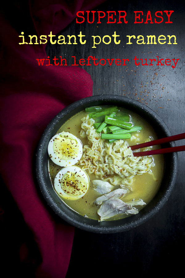 This leftover turkey Instant Pot Ramen is the perfect way to use that leftover turkey, or just a way to make a healthier bowl of ramen. Fresh turkey bone broth, spicy chili sauce and cubes of Velveeta are what makes this cheesy turkey ramen the BEST EVER. Healthy ramen made with turkey bone broth and leftover turkey is just so nourishing and comforting! #turkeyramen #ramennoodle #bestramen #healthyramen #ramen #iloveramen #homemaderamen