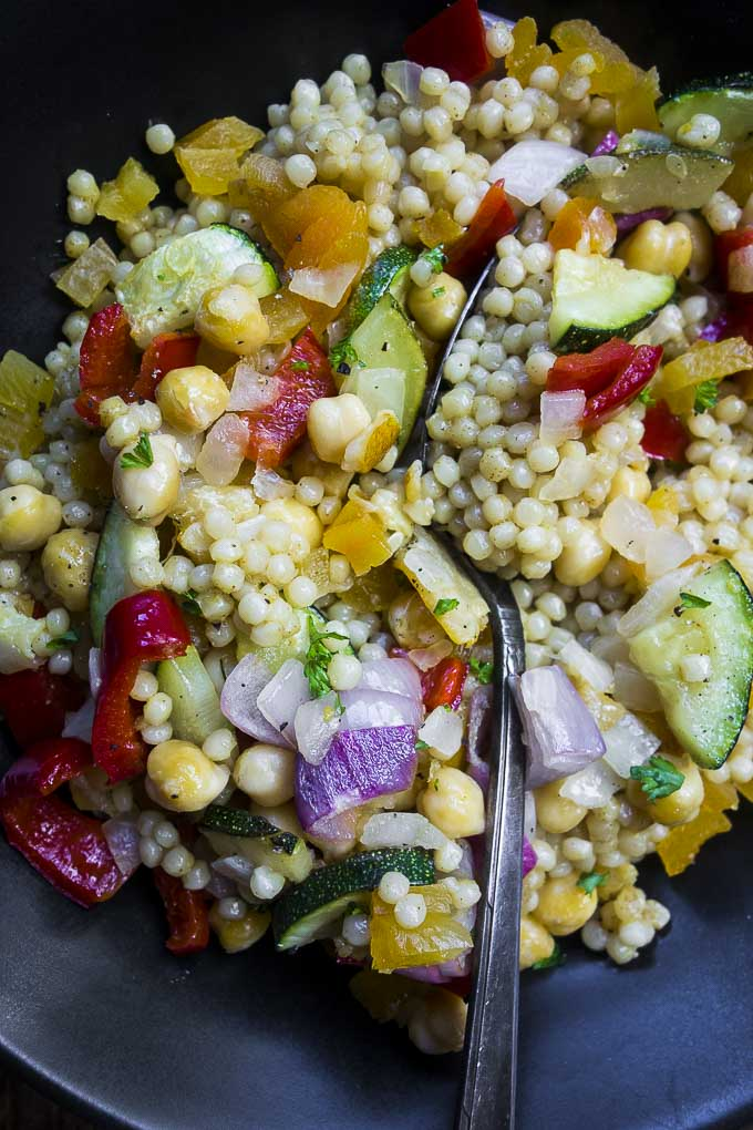 close up photo of moroccan couscous salad