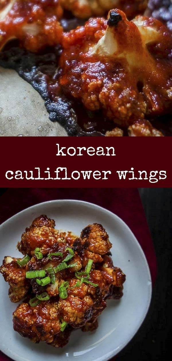 These Spicy Korean Cauliflower Wings are roasted until crisp and caramelized in a sauce of gochujang, soy sauce and honey, with the perfect touch of spice from the gochujang. They are LIFE! #gochujang #cauliflowerwings #roastedcauliflowerkorean fried cauliflower | oven roasted cauliflower | spicy cauliflower wings | gochujang cauliflower bites | vegan korean cauliflower | korean chili cauliflower | korean style cauliflower | baked cauliflower wings