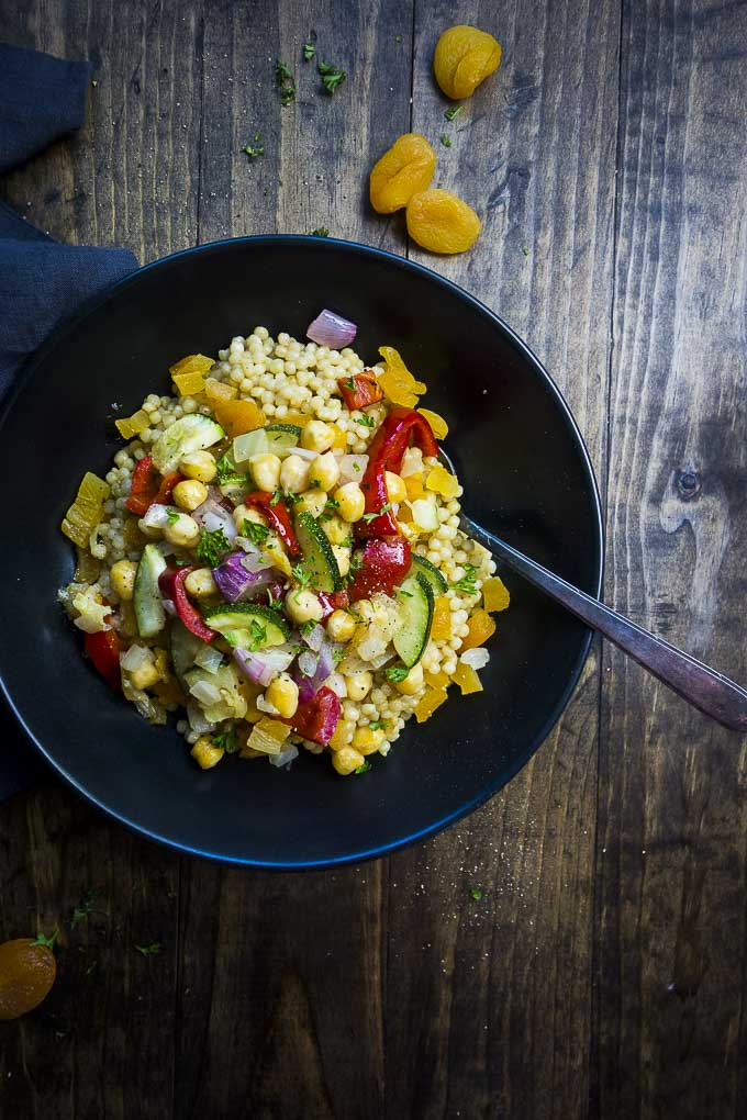bowl of couscous salad with chickpeas