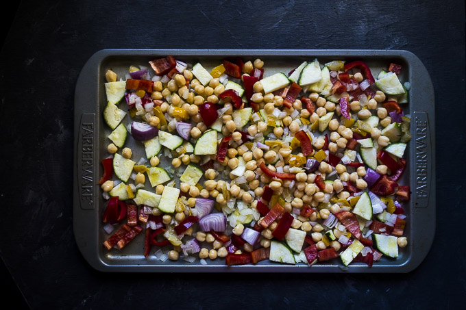 roasted vegetables for couscous salad with chickpeas