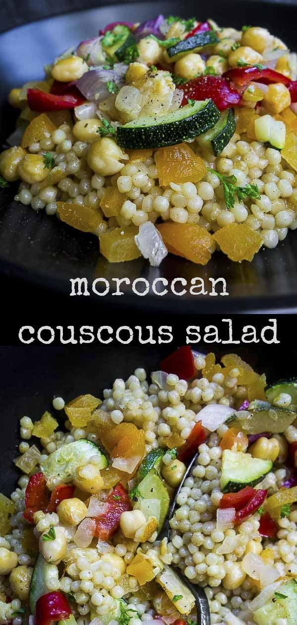 This Couscous Salad with chickpeas is packed full of fresh roasted vegetables, sweet dried apricots, & the delicious umami flavor of preserved lemons. This flavor packed Moroccan couscous salad made with pearl couscous is the perfect easy to make healthy but delicious salad! Vegetable couscous salad is the perfect healthy meal! #wenthere8this #chickpeas #couscous #couscoussalad #moroccancouscous #preservedlemons #vegetablecouscous #pearlcouscous