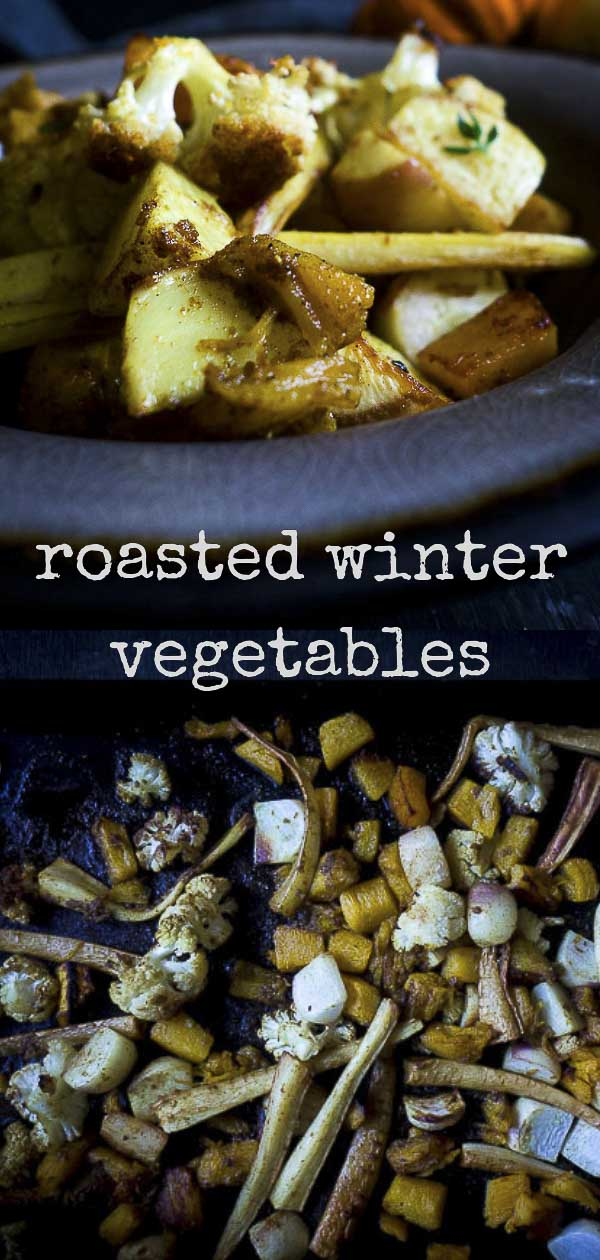 Sweet, hearty, and comforting Roasted Winter Vegetables are mixed with Indian spiced curry seasoning for a blast of heat and and absolutely amazing flavor! These curry roasted vegetables are roasted in coconut oil, garam masala, ginger and curry powder and caramelized to perfection. The roasted Fall vegetables are also 100% vegan, easy to make and absolutely healthy! You want to be making these roasted curry vegetables!! #wintervegetables #curryvegetables #garammasala