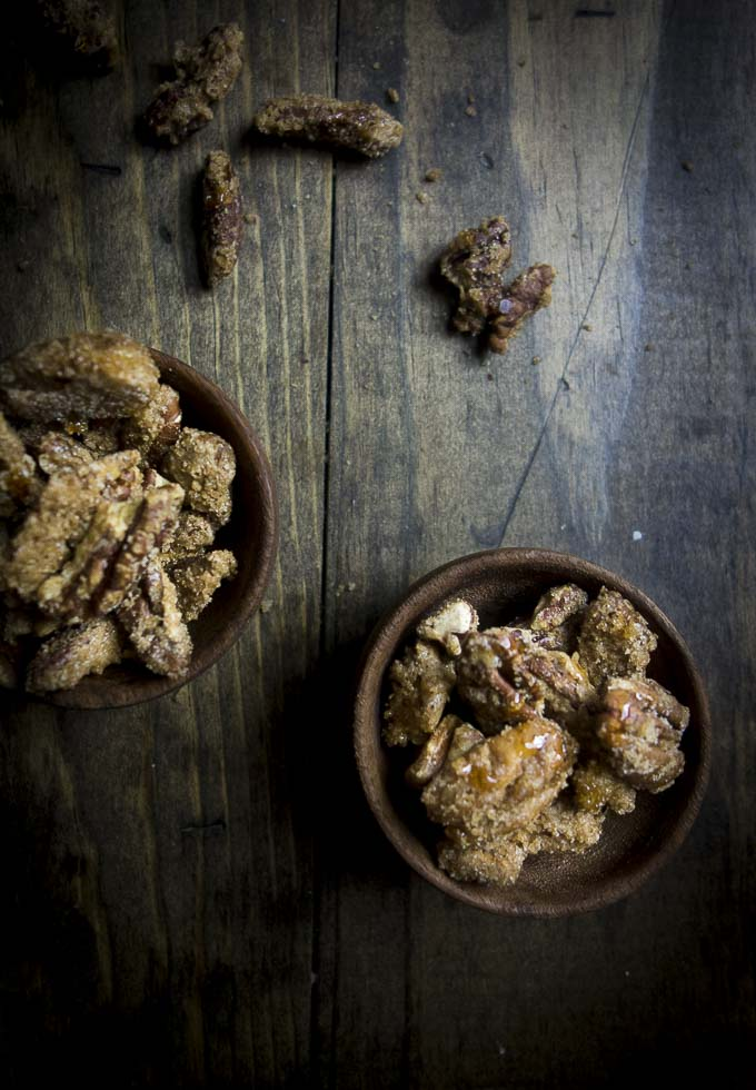 2 bowls of easy candied pecans