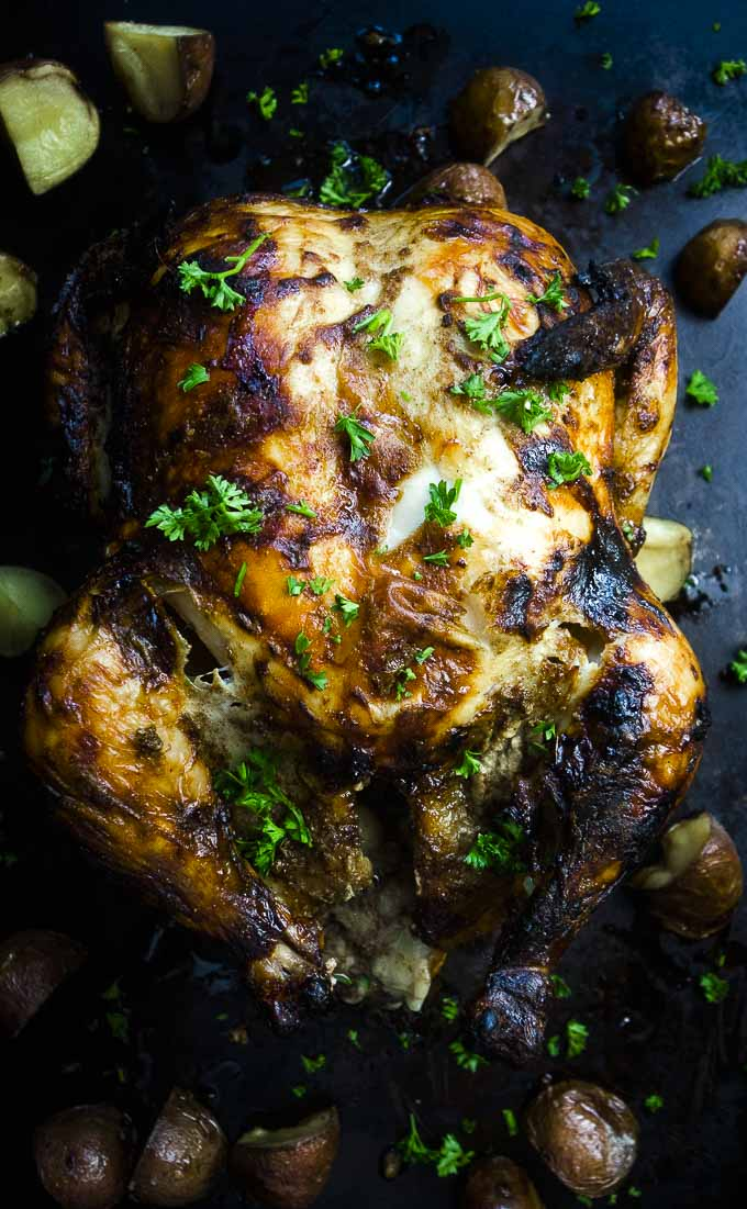 whole indian spiced roasted chicken garnished with parsley and potatoes