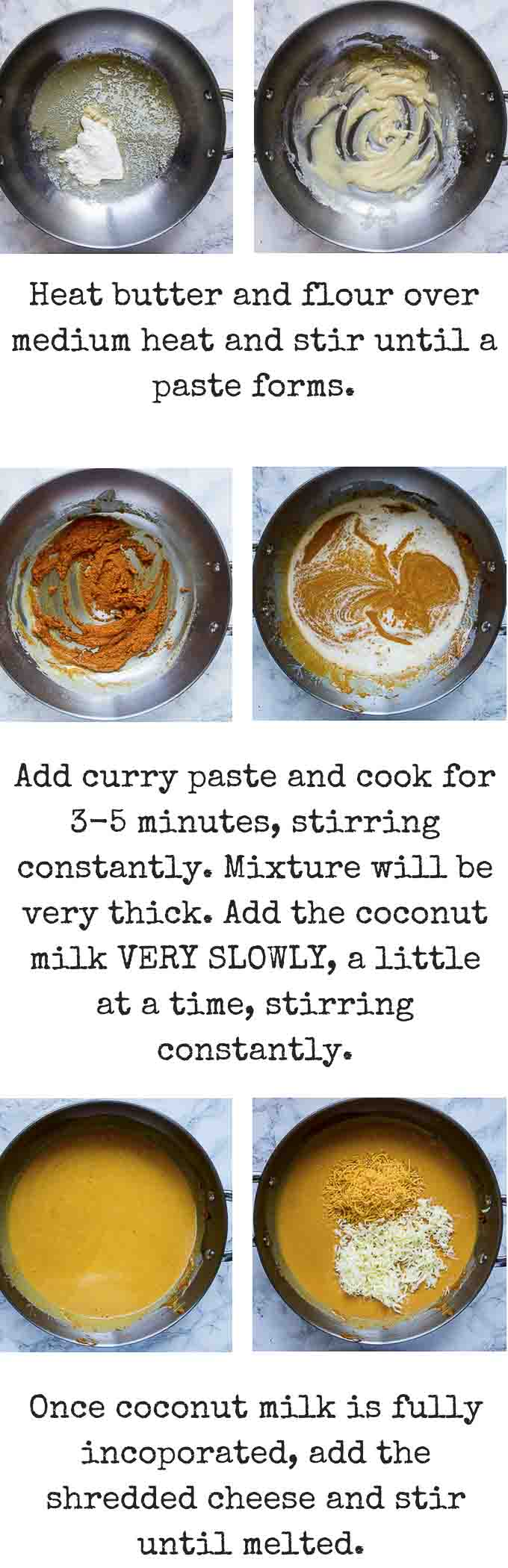 step by step instructions for making thai red curry mac and cheese