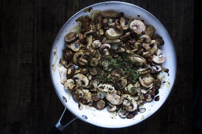 mushroom mixture for stuffing in a skillet