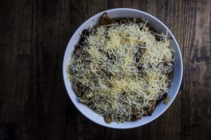 wild rice stuffing with mushrooms in a baking dish
