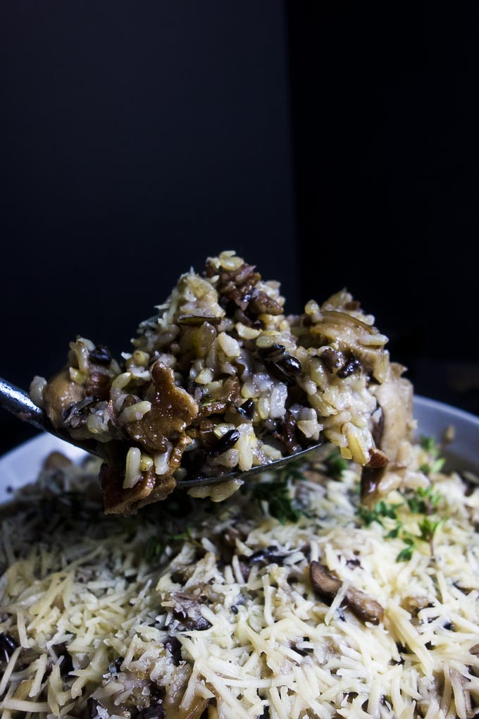 spoon of wild rice stuffing with mushrooms