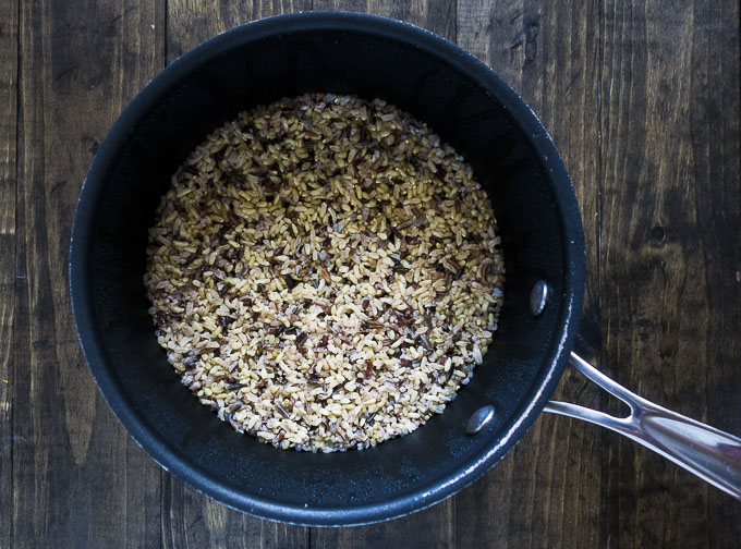 wild rice in a saucepan