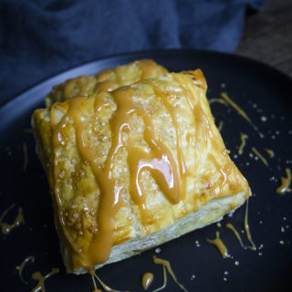 caramel apple puff pastry close up