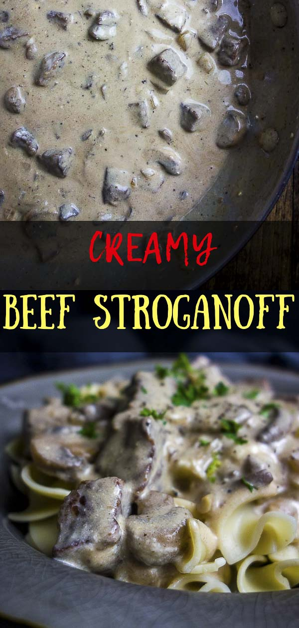 Made with tender chunks of beef, sauteed mushrooms, & sour cream, this Creamy Beef Stroganoff is that ultimate comfort food that you NEED in your life! This is the best beef stroganoff recipe EVER. No joke. This beef stroganoff with sour cream is a MUST MAKE. #beefstroganoff #stroganoff #beefrecipes #comfortfoodeats #eatbeef