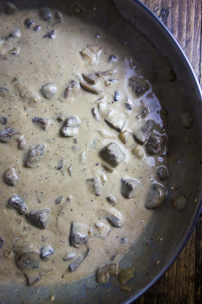 creamy beef stroganoff in a pan