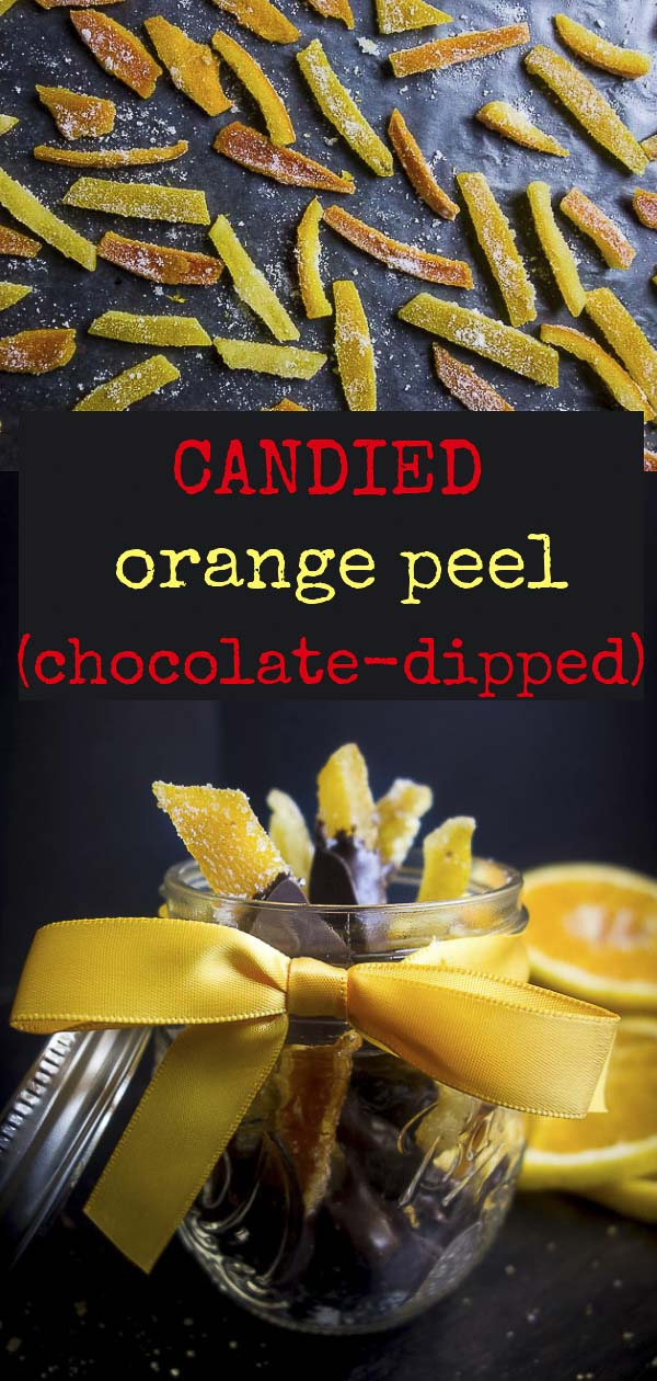 This Candied Orange Peel Recipe is so easy to make - sweet pieces of caramelized orange peels dipped in creamy dark chocolate is just the sweet treat you need to make it through the holidays! These chocolate dipped orange peels are incredibly addictive, but oh-so-incredibly delicious. Make a batch of these candied orange peels for Christmas gifts. #candiedorangepeels #candiedorange #chocolateorange #christmascandy #orangechocolate #orangepeel