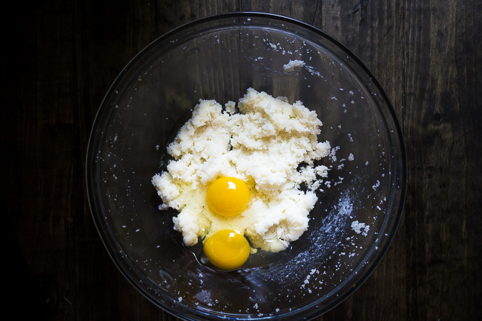 eggs, butter and sugar in a bowl