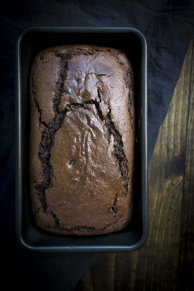 choclate orange bread in a loaf pan