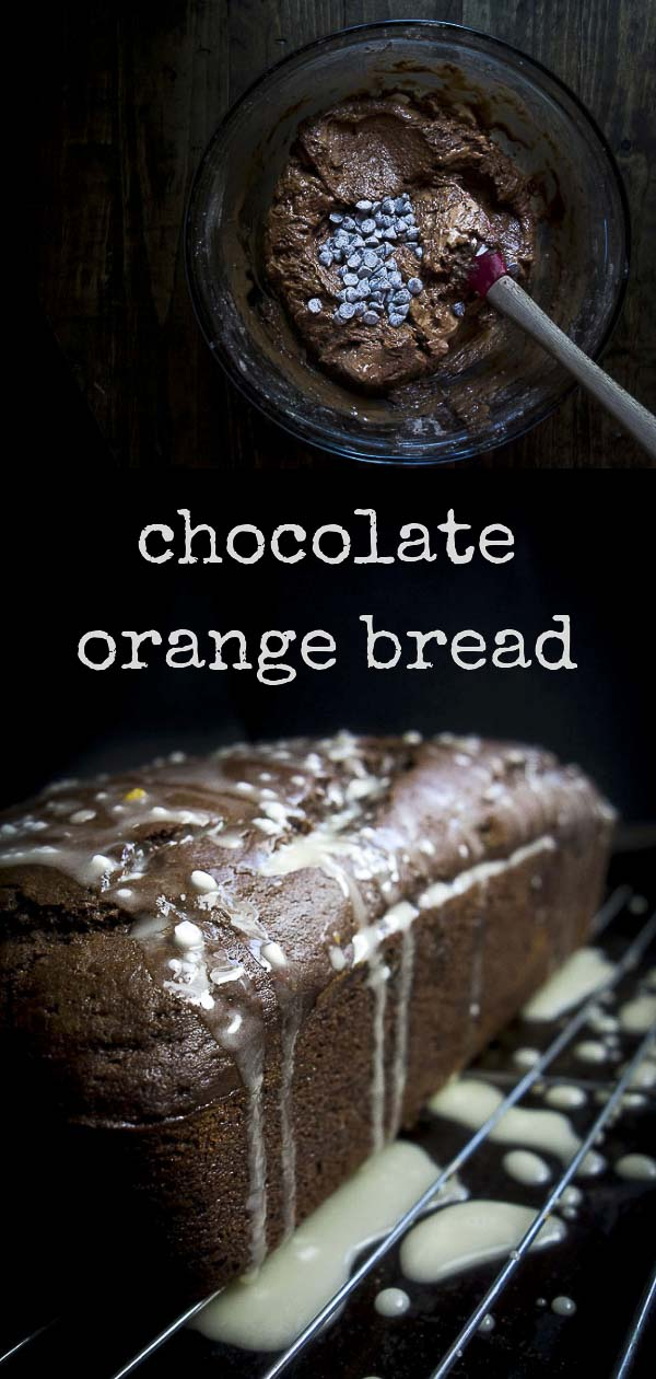 This amazingly delicious and rich Orange Chocolate Bread is made with cocoa powder, orange zest, orange juice, buttermilk and filled with creamy chocolate chips...and then topped with the most amazing homemade orange glaze for the most deliciously decadent chocolate bread you\'ll ever eat!double chocolate chip bread | chocolate chip loaf | chocolate quick bread | glazed chocolate chip orange bread | chocolate filled bread | easy sweet bread recipes | buttermilk bread | chocolate cake bread
