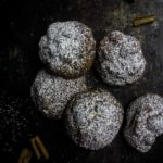 chocolate shortbread cookies coated in powdered sugar