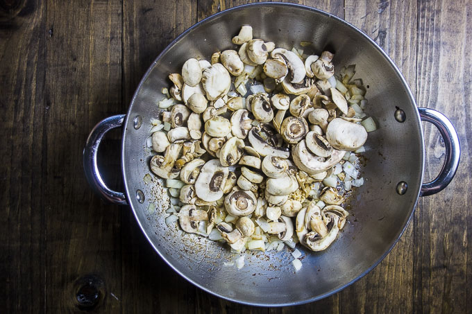 mushrooms, onions and garlic in a skillet